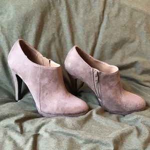 Taupe suede-like ankle booties